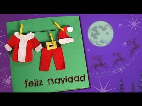 cmo hacer una tarjeta navidea con la ropa de papa nol para nios