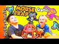 Catch A Mouse Trap Game! Family Fun Wild Mouse Game + Batman and Superman HobbyKidsTV
