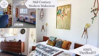 Mid Century Modern Bedroom Makeover | Thrifted Style | Bohemian Modern | The Recycled Life