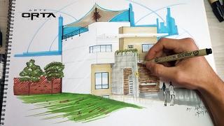 Dibujo de una casa usando un punto de fuga para la Como disenar tu casa