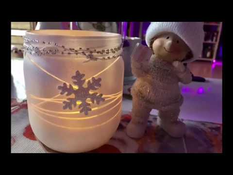 Winter Teelicht , Glas Upcycling