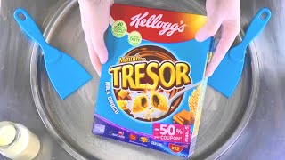 Kelloggs TRESOR Ice Cream Rolls   rolled Ice Cream with Kellogg's Tresor Milk Choco Chocolate   ASMR