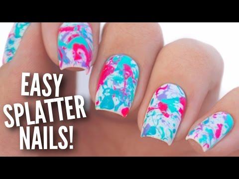Easy Paint Splatter Nail Art Tutorial