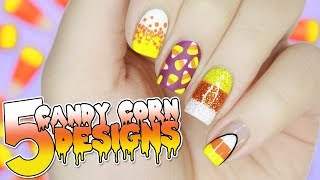 5 EASY Candy Corn Nail Designs For HALLOWEEN | Halloween Nail Art Tutorial