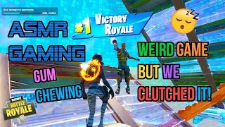 ASMR Gaming 😴 Fortnite Weird Clutch Win! Relaxing Gum Chewing 🎮🎧Controller Sounds + Whispering💤
