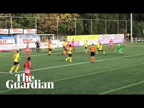 Goalkeeper scores spectacular injury-time equaliser in Belgium
