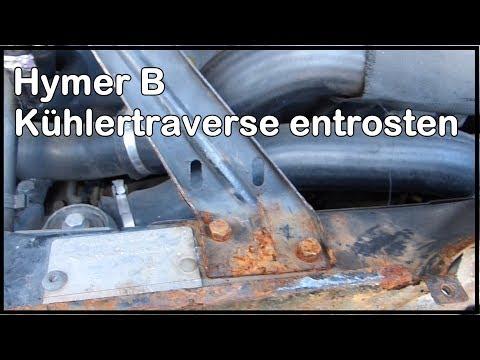 Wohnmobil Hymer B Kühlertraverse entrosten mit Owatrol Öl Rostschutz vorsorge