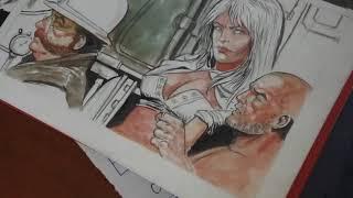 Gouache Painting SAUL Comic Panel