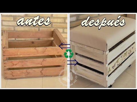 Reciclamos una caja de madera en banqueta - baúl. Cajón de fruta