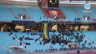 ساعتان قبل انطلاق المباراة:  جماهيرالرجاء تضع آخر لمساتها على التيفو في ملعب رادس