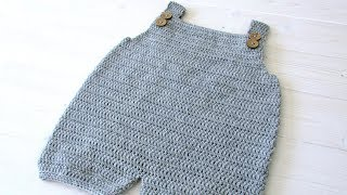 How To Crochet Baby / Childrens Simple Dungarees - The Robin Dungarees / Romper