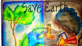 Save Earth Poster Tutorial For Kids || Save Earth, Save Environment Drawing   By Gagan