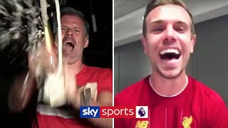 Jordan Henderson celebrates the Premier League title with Jamie Carragher 🍾🏆