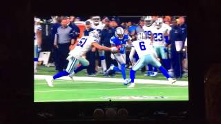 Cowboys punter Chris Jones delivers big hit to lions Andre Roberts