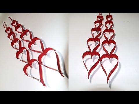 DIY Valentine Decoration Craft: Paper Heart Hanging for DIY Room Decor on Valentine's Day
