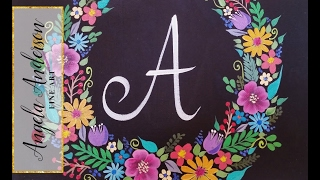 Floral Wreath Chalkboard | Acrylic Painting Tutorial | Brush Stroke Flower Techniques Part 2