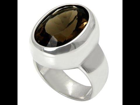 Rauchquarz Ring 18x13 mm (Sterling Silber 925) Rauchtopas