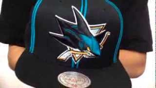 Sharks 'XL-LOGO SOUTACHE SNAPBACK' Black Adjustable Hat by Mitchell & Ness