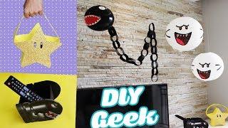 DIYs DECORAÇÃO DE SALA GEEK | Super MARIO BROS | Luminária, Porta Controle E +