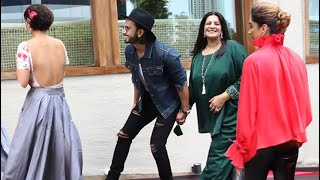 Ranveer Makes Fun With Deepika In Front Of His Mom At Worli For Ranveer's Mother Birthday Party