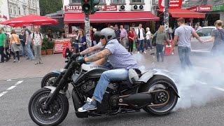 3 Crazy Harley Davidson V-Rods & Sportster - BURNOUTS AND LOUD SOUNDS!