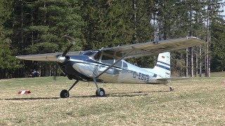 Cessna O-1 Bird Dog Takeoff & Cessna 180-H Landing At Airfield Rostock | OE-CCI & D-EBVB