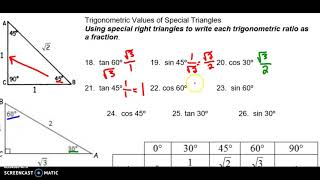 Intro To Trig Notes (Special Right Triangles)
