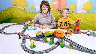 БОЛЬШОЙ ПОЕЗД Лего Дупло с Железной Дорогой - Развивающее видео для детей с Конструктором LEGO DUPLO
