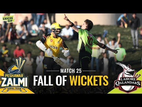 Match 25: Peshawar Zalmi vs Lahore Qalandars | Sprite Fall of Wickets