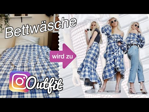 INSTAGRAM-OUTFITS selber machen aus Landhaus-Bettdecke? (Wickeltop + Puffärmel & ZARA Wickelrock)