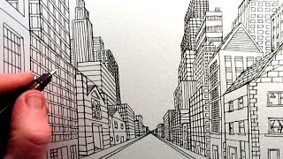 How to Draw a City Street View in One Point Perspective: TL