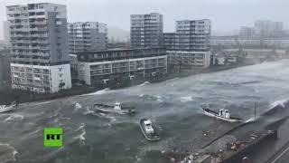 Caóticas imágenes de Jebi, el tifón más potente de Japón en 25 años