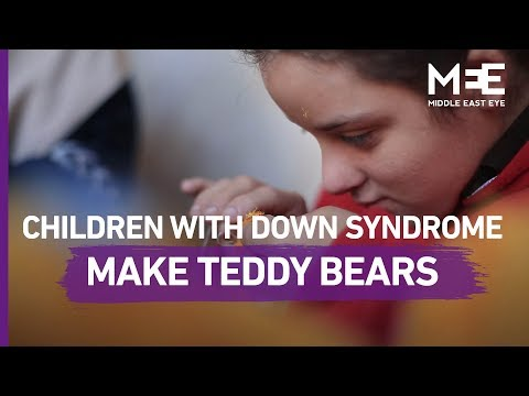 The children with Down syndrome in Gaza learning how to make Teddy bears