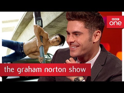 Zac Efron's impressive pose - The Graham Norton Show: 2017 - BBC One