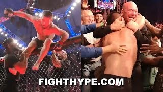 KHABIB FLYS OUT OF CAGE SECONDS AFTER CHOKING OUT DUSTIN POIRIER; BEAR HUGS DANA WHITE AT UFC 242