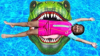Jannie Pretend Play with Inflatable T Rex Pool Float Kids Toy
