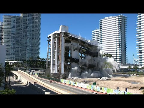 Miami Beach's old South Shore Hospital was imploded into rubble by a construction crew Tuesday to make way for new construction of a high rise condominium building. (April 16)