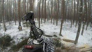 Ponsse Ergo work in the forest, snowy winter, pozyskanie  w trzebiezy zima. HD
