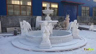 Outdoor Large Marble Water Fountain With Praying Angel Statues For Hotel Lobby Garden Decor