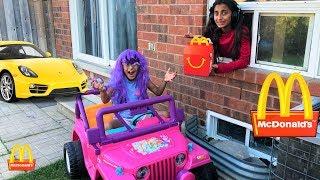 McDonalds Drive Thru Prank!! Power Wheels Ride On Car Kids Pretend Play