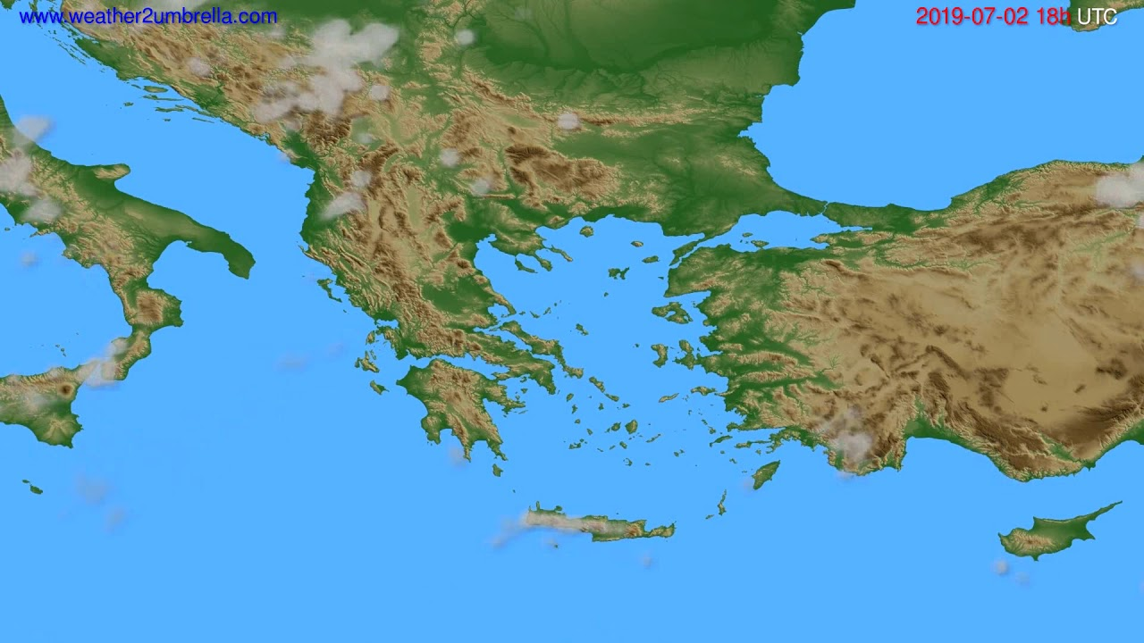 Cloud forecast Greece // modelrun: 00h UTC 2019-06-30