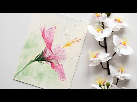 Watercolor flower painting - HIBISCUS flower painting for beginners - FREE SKETCH