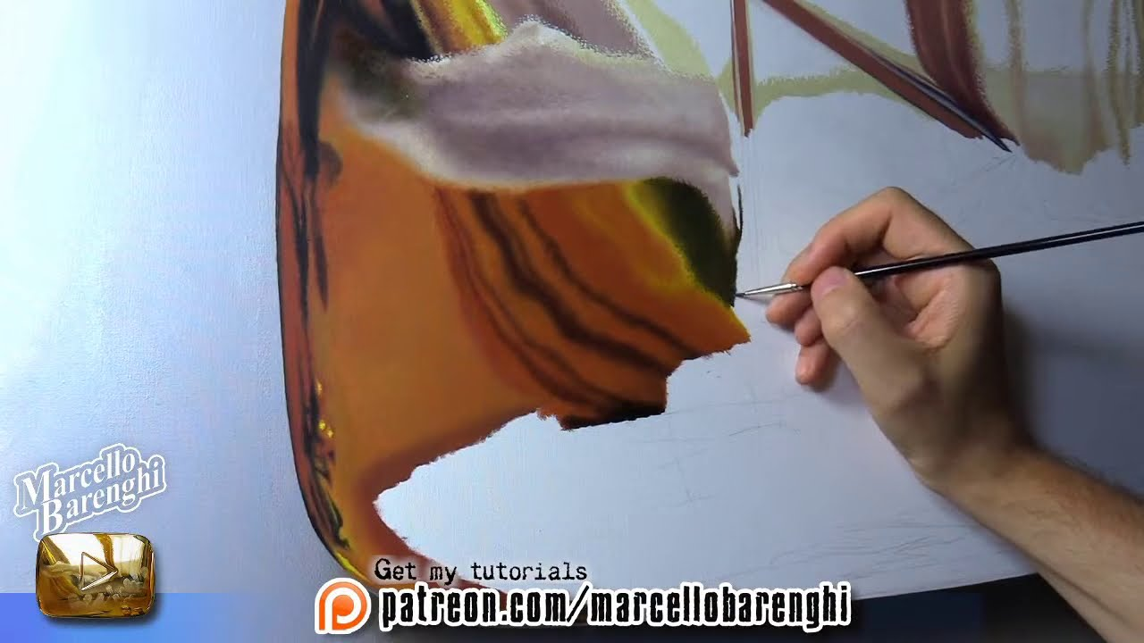 painting in real gold button by marcello barenghi