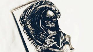 How To Draw Grim Reaper Evil Tattoo Design   Body Tattoo   2018 Update
