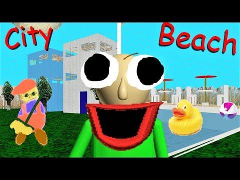 BALDI CAN WALK TO A CITY AND A BEACH!! Or pool..   Baldi's Basics MOD: Baldi's Basics + City