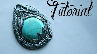 Silver & Turquoise Polymer Clay Feather Pendant Tutorial | DIY Jewellery | Fantasy | Velvetorium