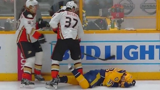 Ritchie gets game misconduct for brutal boarding on Arvidsson