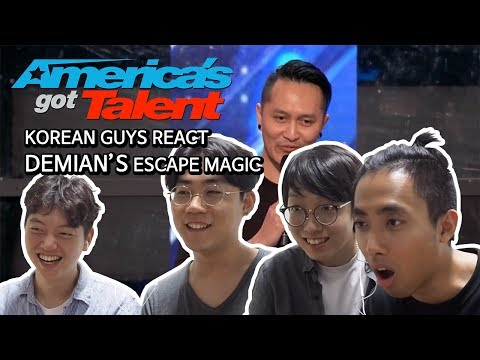 KOREAN GUYS REACT DEMIAN'S MAGIC IN AMERICA'S GOT TALENT (видео)