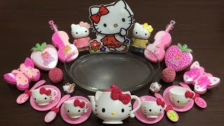 HELLO KITTY Slime   Mixing Random Thing into Clear Slime   Satisfying Slime Videos