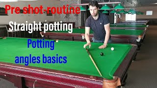 snooker coaching - Pre shot routine straight potting, potting angles basics